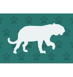 Big cat or feline silhouette icon over pattern vector