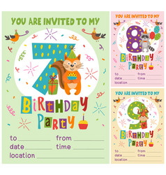 Birthday invitation card template with animals vector