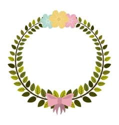 Border of leaves with pink bow and flowers vector