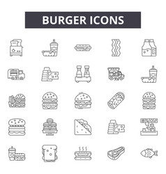 Burger line icons signs set linear vector