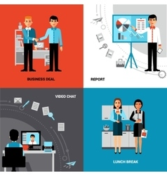 Business People 4 Flat Icons Composition vector