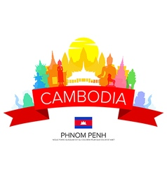 Cambodia phnom penh travel vector