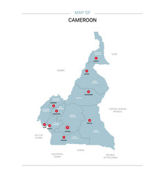 Cameroon map with red pin vector