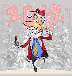 cartoon funny man in suit santa claus vector image