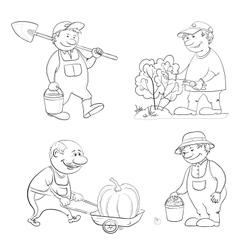 Cartoon gardeners work outline vector