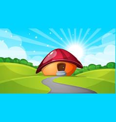 Cartoon landscape with mushroom house sun cloud vector