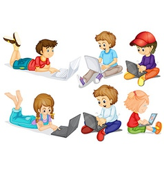 Children and computer vector image