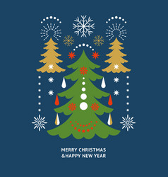 christmas greeting card design happy new year vector image