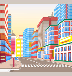 Cityscape realistic look city town street vector
