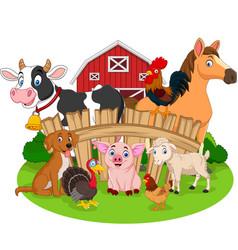collection farm animals cartoon vector image