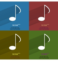 Color set Music elements notes web icon flat vector image