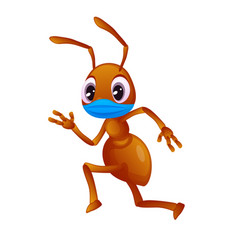 Colorful ant in a face mask is running vector