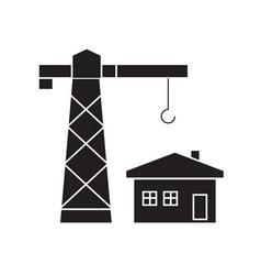 construction residental house black concept vector image