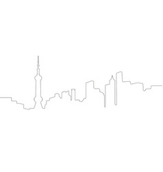 continous line skyline of shanghai vector image