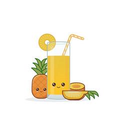 cute kawai smiling cartoon pineapple juice vector image