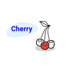 cute red cherry cartoon comic characters with vector image