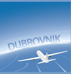 Dubrovnik skyline flight destination vector