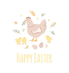 easter design circle composition with chicken vector image