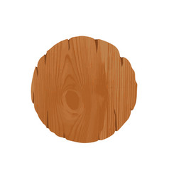 Empty round unhewn wooden signboard with place for vector