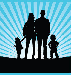 familly silhouette in nature vector image