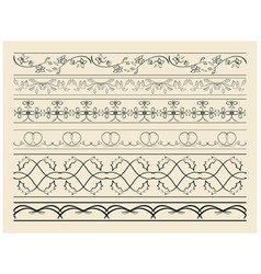floral and curved ornamental borders - set vector image