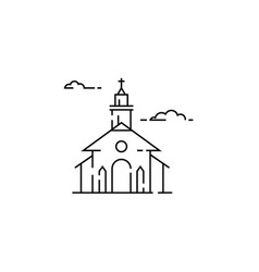 Funeral service icon set in linear style vector