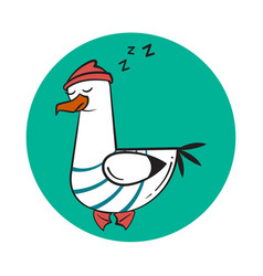 funny cartoon seagull sleep vector image