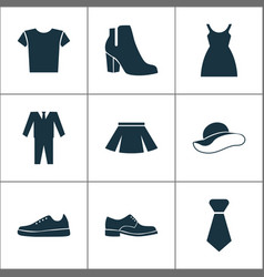 Garment icons set with boots skirt male footwear vector