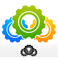Gears composition colorful and black version vector