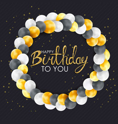 glossy happy birthday balloons background vector image