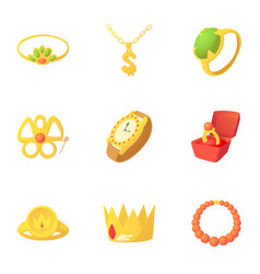 gold jewelry icons set cartoon style vector image