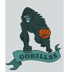 Gorilla basketball club emblem vector image