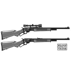 graphic detailed shotgun rifle with optical sight vector image