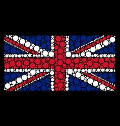 great britain flag mosaic of filled circle items vector image