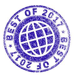 Grunge textured best of 2017 stamp seal vector