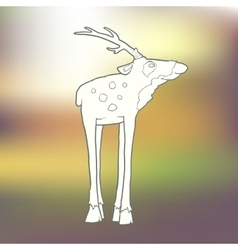 Hand-drawn deer with long vector image