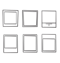 hand drawn doodle photo frame collection vector image