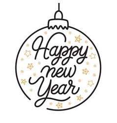 happy new year lettering template greeting card vector image