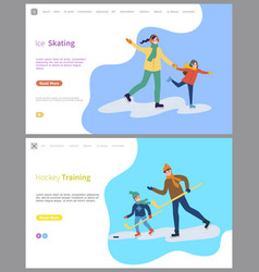 Hockey training and skating on ice rink people vector