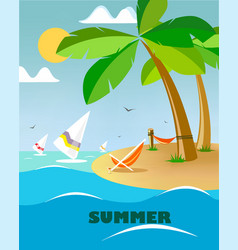 holiday island with windsurfers vector image