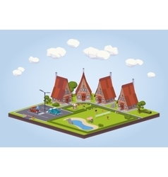 Hotel with the wooden cabins vector image