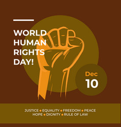Human rights day with brown vector