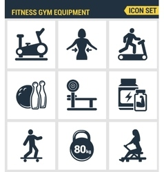 Icons set premium quality of fitness gym equipment vector image
