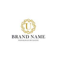 Initial letter u luxury ornament logo design vector