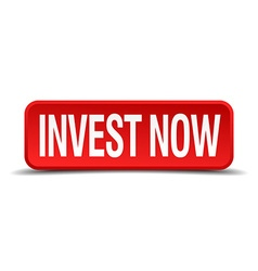 Invest now red 3d square button on white vector