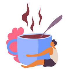 Male personage hugging cup coffee with steam vector