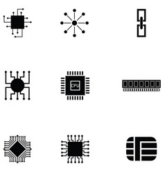 microchip icon set vector image