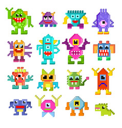 monster alien cartoon pixel monstrous vector image