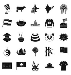 Monument icons set simple style vector