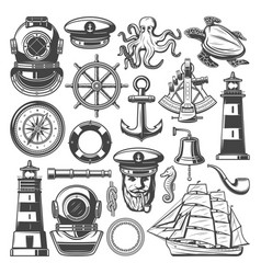 Nautical symbols and marine sailing icons vector
